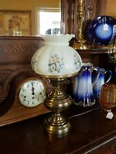 """Vtg. Gone with the wind style lamp,,antique brass,,hand painted,,18"""" tall"""