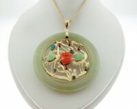 "Jade Multi Gemstones 14k Yellow Gold Flamingo 2"" Pendant Medallion 23"" Necklace"