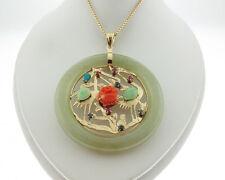 "Jade Multi Gemstones 14k Yellow Gold Flamingo 2"" Pendant Medallion 23"" Necklace"