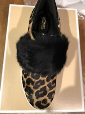 NEW! $165 Michael Kors Maven Fur and Calf Hair Sneakers Size 8M Style 43F7MVFP1H