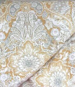 Pottery Barn Duvet Cover - Celeste Gold Linen Blend - F/Queen - Gold Blue Floral