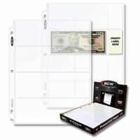 *20* Loose BCW 4 Pocket 2 3/4 x 6 3/4 Currency Pages Sheet Currency Holder