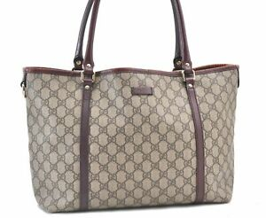 Authentic GUCCI Shoulder Tote Bag GG PVC Leather 197953 Brown E0353