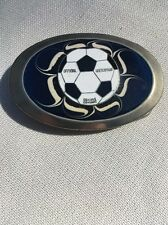 """Soccer Ball"" Belt Buckle On Iridescent Blue Glass Background. 3 3/4"" X 2 1/2""."