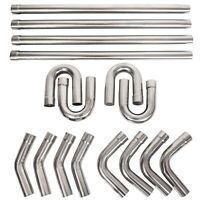 """2.5"""" Stainless Steel Anti-Rust Mandrel Exhaust Pipe Straight&Bend Kit 8PC / 16PC"""