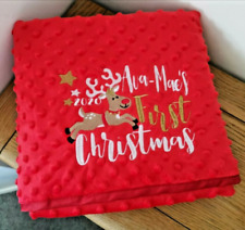 FIRST CHRISTMAS RED BABY BLANKET PERSONALISED EMBROIDERED NAME GIFT PRESENT