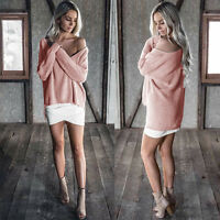 Womens Off One Shoulder Long Sleeve Loose Knitted Tops Ladies Casual Jumper 8-16