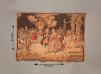 Antique French Aubusson Style Wall Hanging Tapestry | 69X49 Inch | Vintage