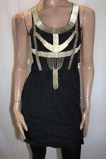 HUSSY Brand Black 'Enchanted' Gold Bead 100% Silk Mini Dress Size 8 BNWT #HG10