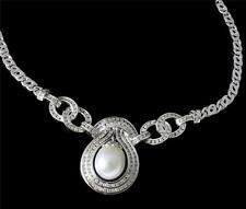 Original Sur Mar Perla Blanca Collar de Diamantes Pesado 18k Oro Blanco Tasación