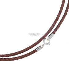 Sterling Silver 3mm Brown Braid Genuine Leather Cord Necklace Spring Ring Clasp