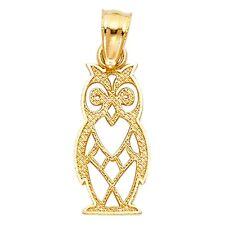 Diamond Cut Owl Fancy Charm Real 14k Yellow Pure Italian Gold 15mm x 7mm Pendant