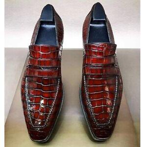 Handmade Men Alligators Leather Shoes, Men Crocodile Leather Shoe, moccasin shoe