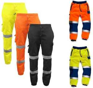 Hi Vis Viz Jogging Trousers Bottoms Joggers Sweat Pants Railway GO/RT