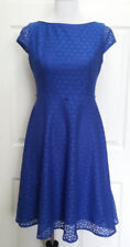 Black Label by Evan Picone Blue lace fit and flair dress party coctail size 2