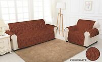 CHOCOLATE QUILTED Damask Jacquard Slip Sofa Cover Pet Protector 1,2,3 Seater