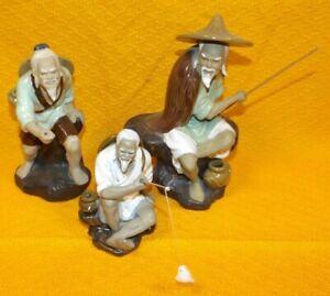 3 chinesische Keramik Figuren Dekofiguren Angler handbemalt