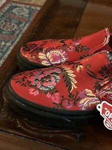 Vans Sneakers RedSatin Embroidered Brocade Floral Slip On Shoes Women's Sz 5.5 M