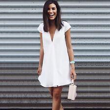 Womens White Short Mini Dress Casual Beach Holiday Summer Party Bodycon Sundress