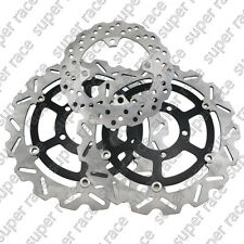 A Set Front&Rear Brake Disc Rotors For Kawasaki ZX10R 2008 2009 2010 2011 Black