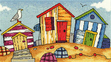 Heritage Crafts Cross Stitch Kit - By The Sea - Beach Huts
