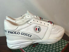 Vintage Paolo Gucci Mens 9.5 Leather Shoes 90s White Dead Stock New Rare