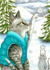 ACEO art print Cat 452 mouse winter from original painting by L.Dumas