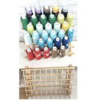 Huge Lot Of 31 Maxi-Lock Serger Thread Spools + 2 June Tailor Lg Sm Thread Racks