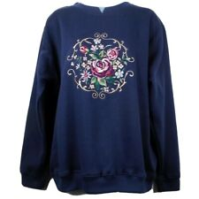 Shenanigans Sweatshirt Womens Size M Blue Crew Neck Layered Look Embroidery New