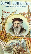 1893 John Cabot At Labrador, Carroll County Fair Lovely Victorian Trade Card F98