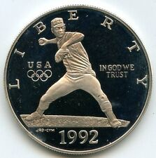 1992 Olympics Baseball PROOF Silver Dollar - Commemorative Coin - AF762