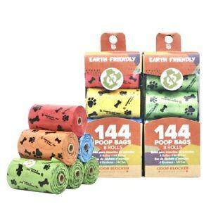Earth Friendly Dog Pet Poop Bags 8 Rolls, Odor Blocker Dog Poop Waste Bag