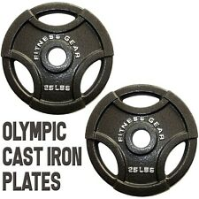 NEW Set of 2: 25lb Olympic Weight Plates (Total 50 lb Weights) Cast Iron Fitness