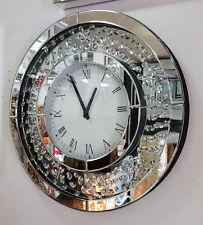 Mobile MODERNO CRISTALLI Smussato Specchio Vetro Rotondo Orologio da parete 50cm Argento 201B