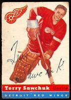 1954-55 TOPPS HOCKEY #58 TERRY SAWCHUK DETROIT VG RED WINGS HOF