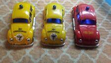 3 Vintage Volkswagon Beetle Plastic Friction Cars Hong Kong Emergency Vehicles