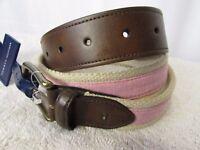 Tommy Hilfiger Men's Belt Size Medium 34-36 Buckle Brown Leather Tan/Red New$50+