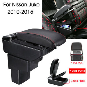 Armrest Box Dual Layer Central Storage Box With 7 USB For Nissan Juke 2010-2015