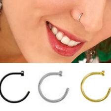 2PCS Stylish Fake Stud Earrings Punk Clip On Piercing Body Nose Lip Rings Hoop
