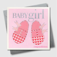 Baby Girl Greeting Card Pink Shoes New Birthday Shower Birth Embossed UK