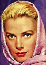 GRACE KELLY ORIGINAL UNIQUE RETRO DESIGN HUGE WALL ART CANVAS PRINT 36 X 50 INCH