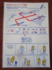 EUROAIR TRANSPORT BRITISH AEROSPACE 748 SAFETY INSTRUCTION CONSIGNES DE SECURITE