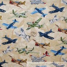 BonEful FABRIC FQ Cotton Quilt Brown Map USA Military Jet Air Force Air*Plane US