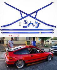 X-Bar+c-Pillar bar+Lower Bar Rear Crossbar 88-91 Honda Civic CR-X EF JDM SI