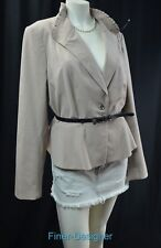 WHBM White House Black Market suit Jacket Blazer ruffle tan all season SZ 16 NEW