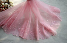 """10.63""""*2Yds  Pink Embroidered Floral Tulle Lace Trim ,Mesh Embroidery Lace"""