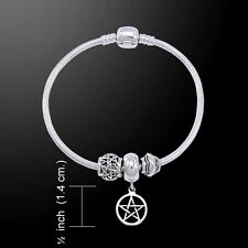 Pentagram Pentacle .925 Sterling Silver Bead Bracelet by Peter Stone