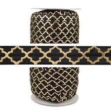 100 Yard Spool - Fold Over Elastic - Gold Quatrefoil on Black - 5/8in Wide - FOE
