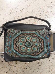 Isabella Fiore Beaded Embellished Floral Shoulder Bag Purse Handbag
