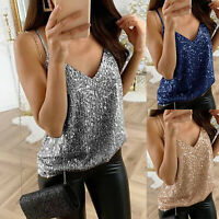 Ladies Sequins Tank Top Sleeveless V Neck T Shirt Summer Party Blouse Plus Size